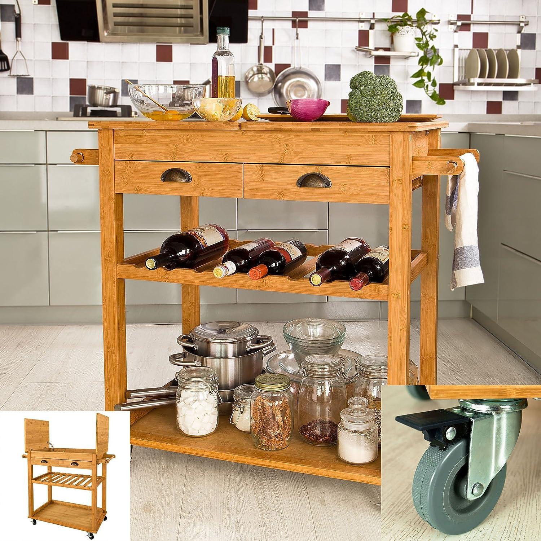 Promotion -20%! SoBuy® FKW08-N XXL Desserte à roulettes en Bambou de haute qualité - Meuble rangement - Kitchen Trolley
