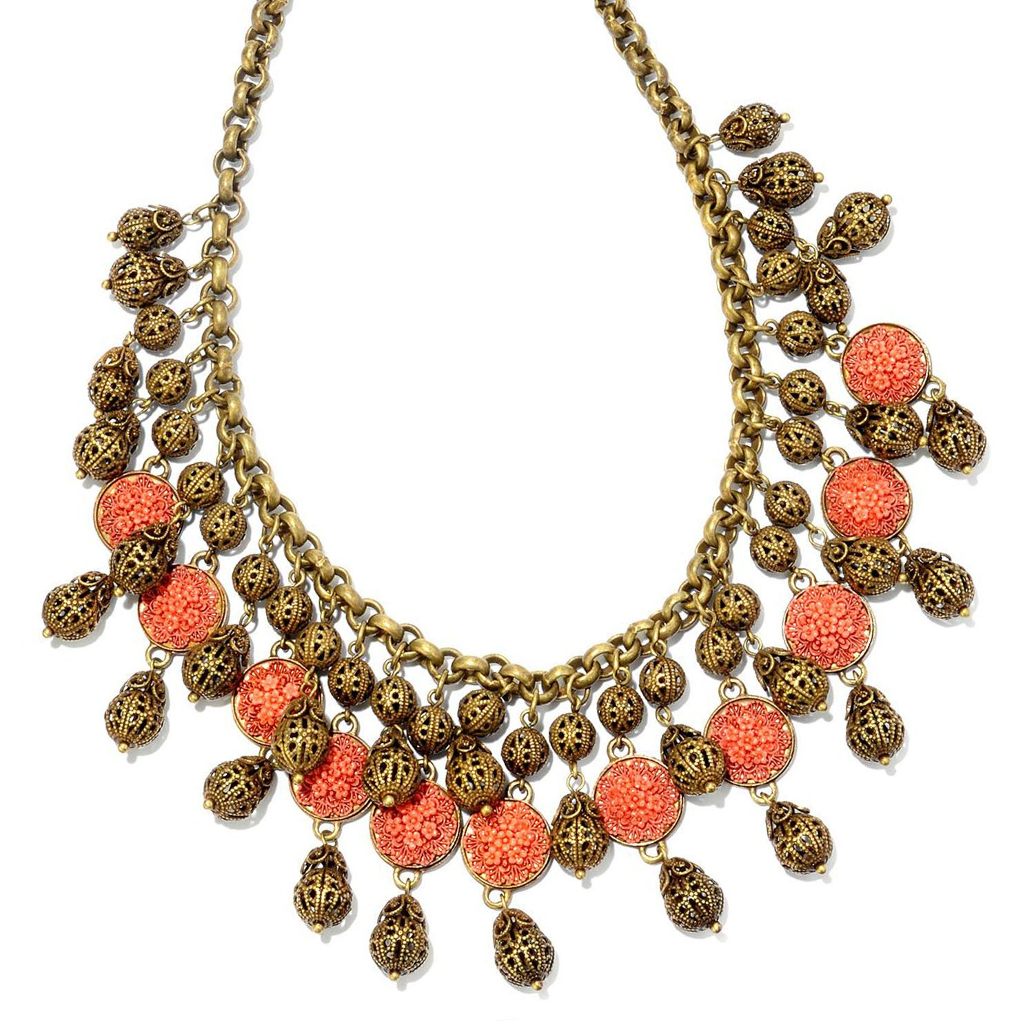 New 1940s Costume Jewelry: Necklaces, Earrings, Pins 1940s Coral & Filigree Collar Necklace $115.00 AT vintagedancer.com