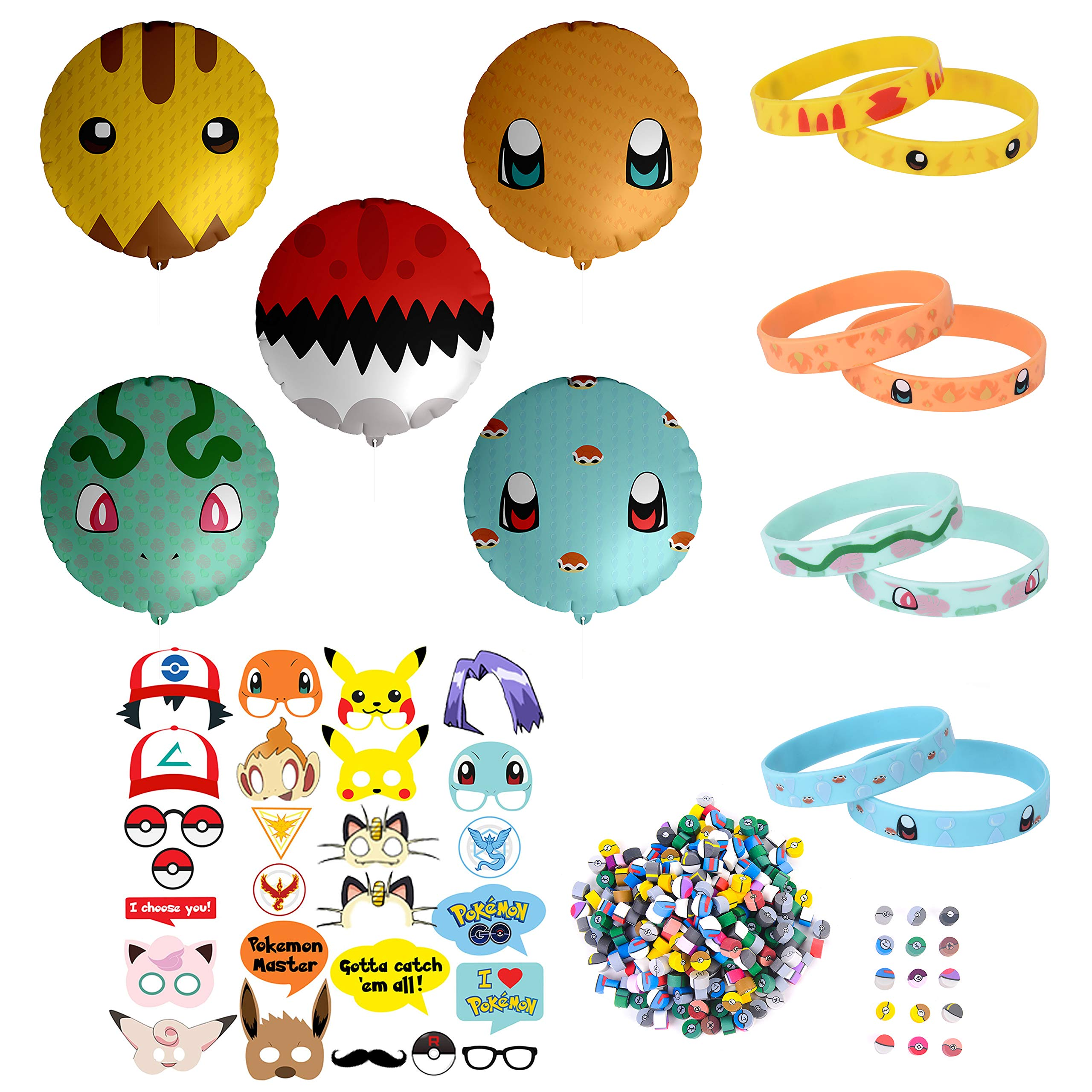 Totem World 343 pcs Party Favor Supply Mega Pack for Pokemon Theme Party - Includes Pokemon Inspired Balloons, Bracelets, Erasers, and Props - Perfect Stocking Stuffer