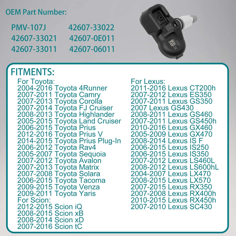 42607-33011 42607-33021 42607-06011 HQPASFY Tire Pressure Sensor 315MHz TPMS 4PCS Replacement for| Lexus ES350 GS350 GS460| Toyota Camry Corolla Prius| Scion iQ /& More Replaces# PMV-107J