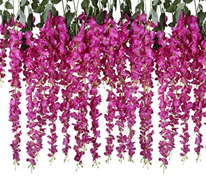 c7a4304fd28 YSBER 6/12 Piece Artificial Fake Wisteria Vine Rattan, Hanging Silk Flowers  String for Home Party, Yard and Wedding, Purple/Red
