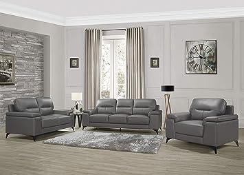 Amazon Com Homelegance Fleming 3 Piece Leather Sofa Set