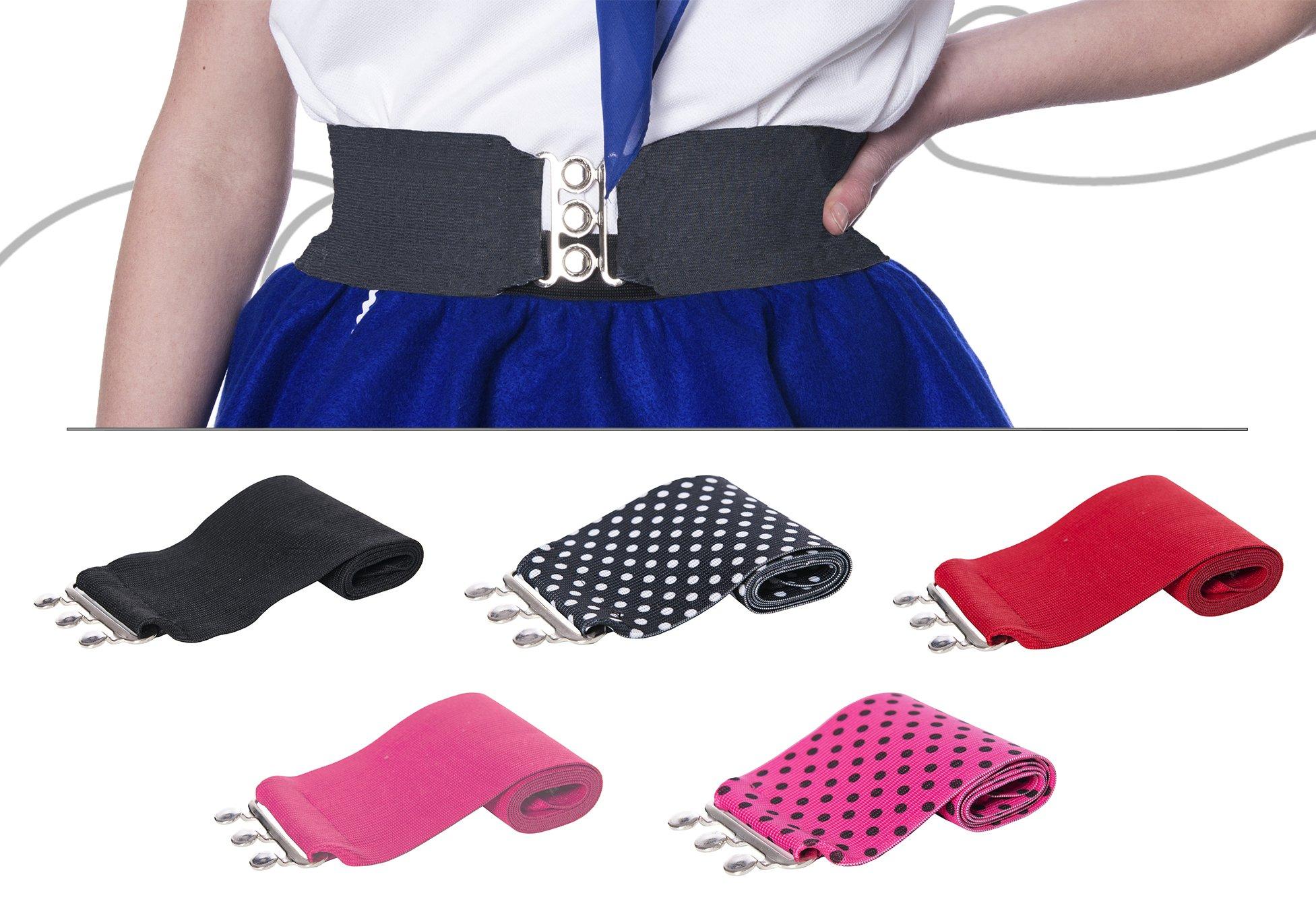 "Silver Clasp 50s Style Cinch 3"" Wide Elastic Belt for Women Junior and Plus Sizes Black M/L by Hip Hop 50s Shop (Image #6)"