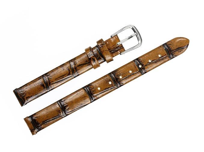 8 mm de la Mujer de bronce antiguo reloj marrón de cuero de la piel de