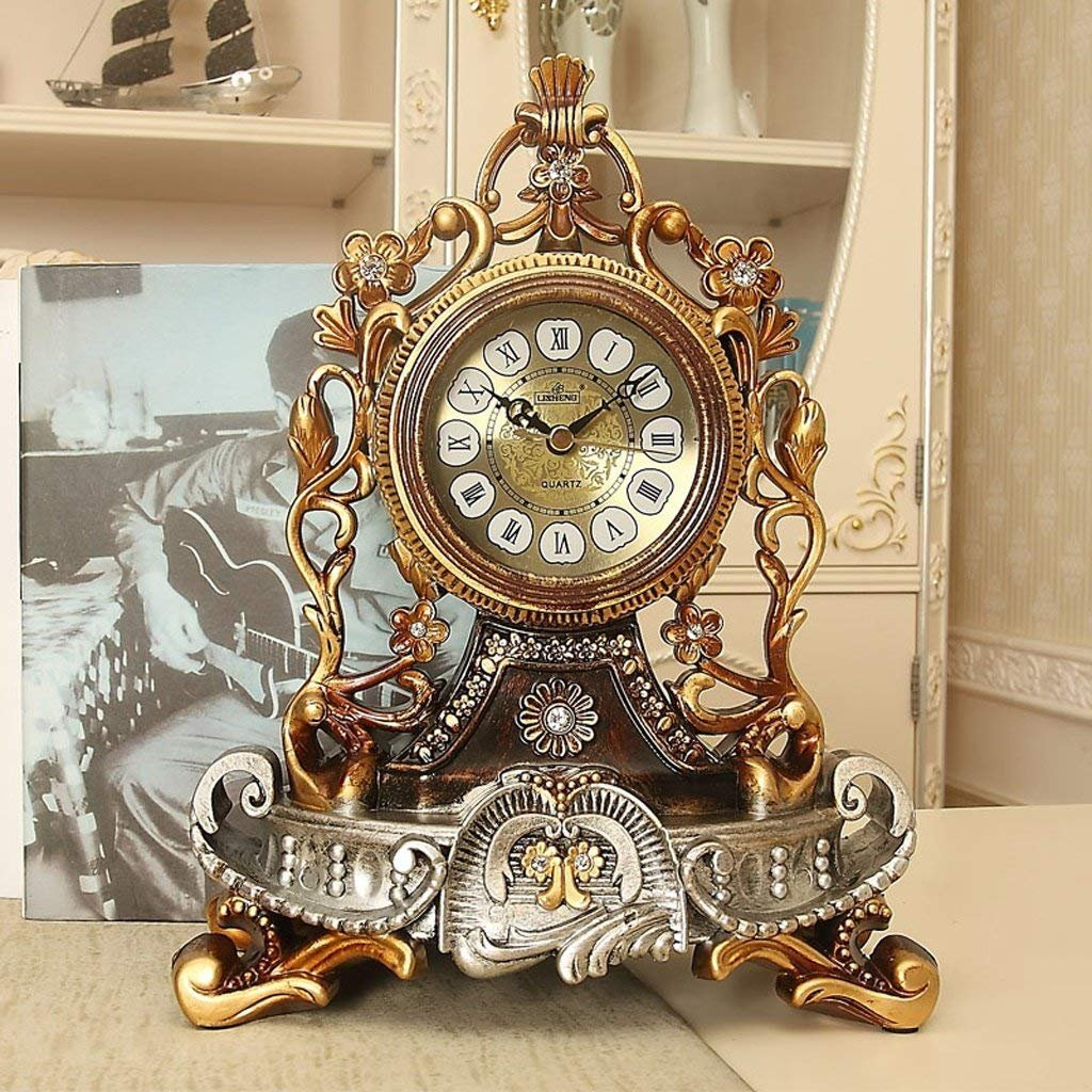 LUO Table Clock European Style Clock Creative Silence Clock Personality Sitting Clock Living Room Big Swing Clock Quartz Clock Decorative Table Clock AAA