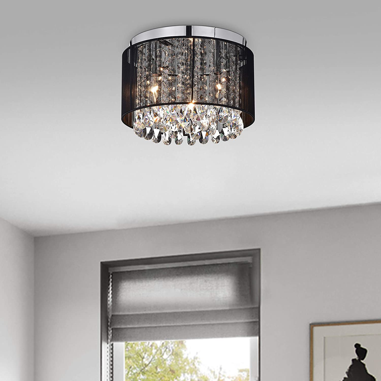 Chandeliers Flush Mount Light Fixture Crystal Chandelier Lighting Black Drum Ceiling Lights 3 Light