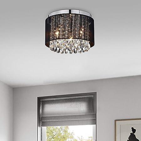 LaLuLa Chandeliers Flush Mount Light Fixture Crystal Chandelier Lighting Black Drum Ceiling Lights 3 Light