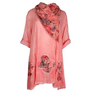 41bb7ed26aa Made by Purl® New Womens Italian Floral Printed Short Sleeve Round Neck  Stylish Lagenlook Tunic Tops T-Shirt with Scarf Blouse Top UK Size 16-24   ...