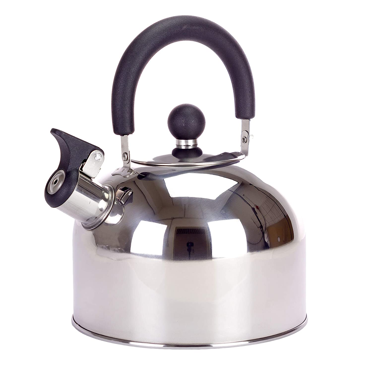 Kaliwaro Whistling Kettle Stainless Steel Tea Kettle for Induction Gas Hob Camping, 1,5L