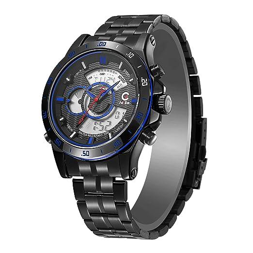jeiso deporte hombres de cuarzo Fitness reloj, digital led pantalla Dual tiempo acero inoxidable militar deportes reloj de pulsera: Amazon.es: Relojes