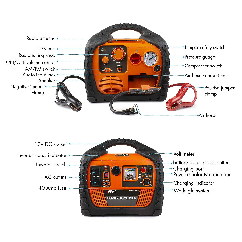 Amazon.com: Wagan EL7561 Dome PLEX Battery Portable 1000 Amps Jump Starter Air Compressor 800W Peak Surge Power Inverter: Automotive