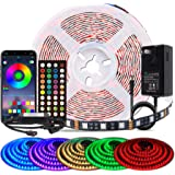 BIHRTC Led Strip Lights 5050 RGB 16.4ft 5m Led Lighting 300leds 40 Keys Remote Controller Music Sync Color Changing…
