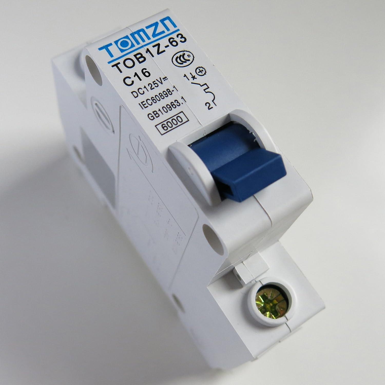 16A DC Circuit Breaker MCB Solar Fuse 125v Single Pole 1P Ebike TOB1Z-63 C16