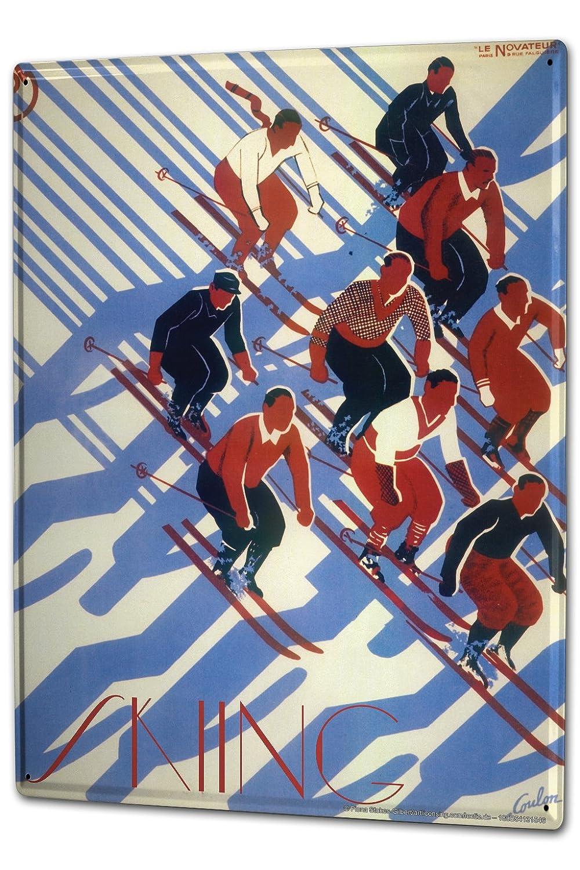 Cartel Letrero de Chapa XXL Diversión Francia esquí: Amazon ...