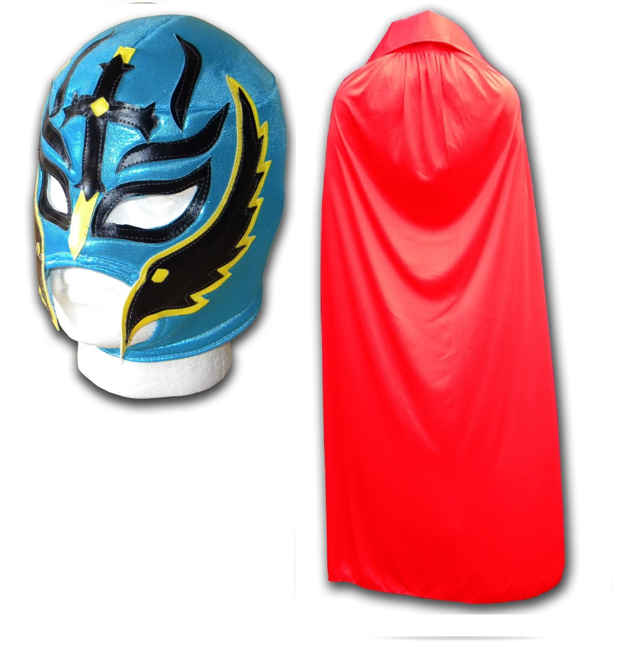 WRESTLING MASKS UK Men's Son Of The Devil Cape Luchador Mexican Wrestling Set One Size Turqoise And Red