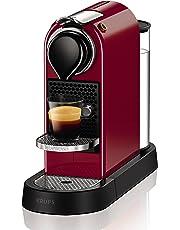 Nespresso Intenso Krups Citiz Flow XN7405 Cafetera monodosis de 19 bares con 2 programas de café personalizables, bandeja extraíble y autoapagado, color rojo