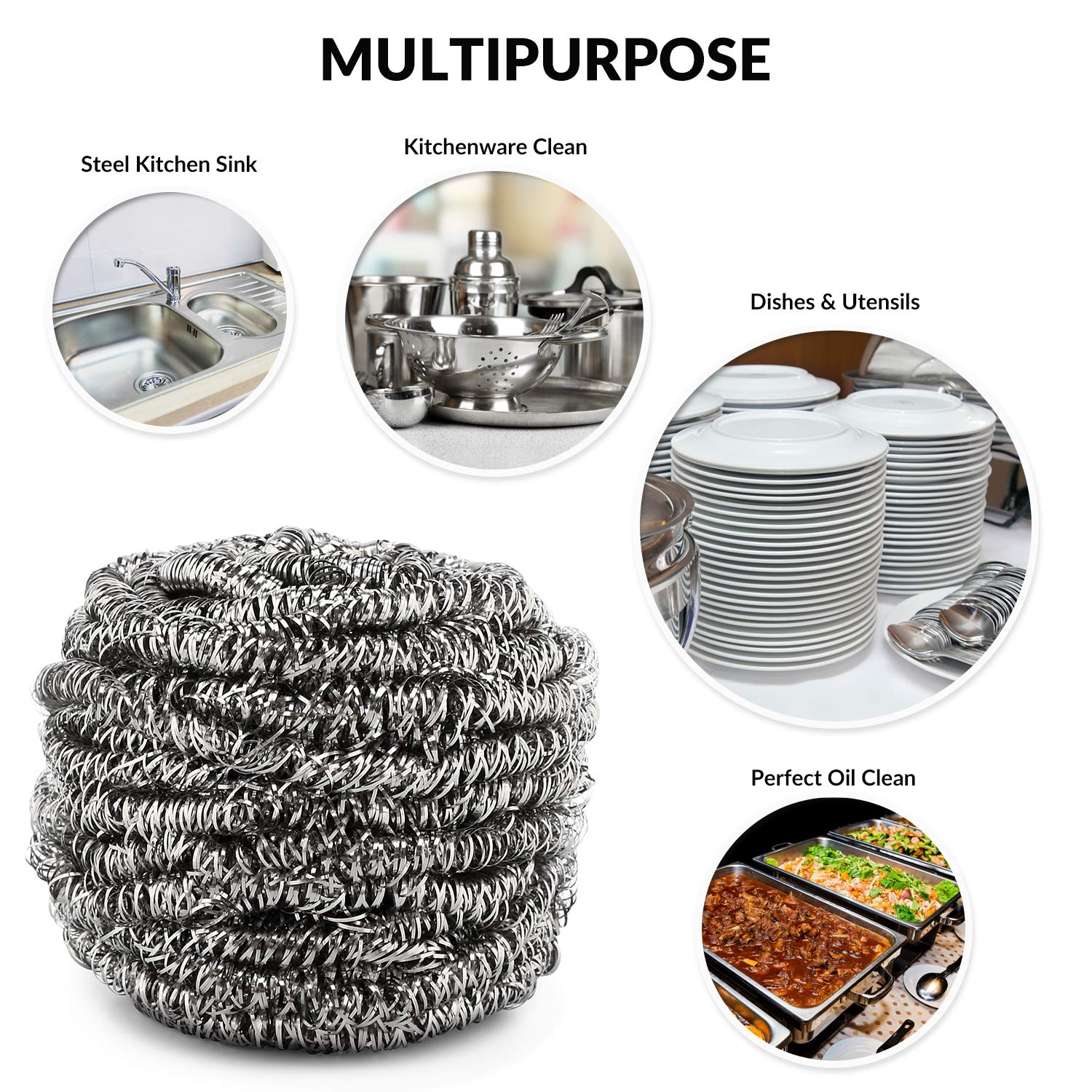 Household Supplies & Cleaning Able Scourer Stainless Steel Kitchen Washing Up Mesh Wire Cleaning Grease Metal Pads