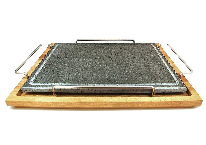 Fasa - Piastra in pietra ollare con telaio in acciaio inox e supporto in legno grande cm. 29x40