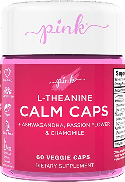 Amazon Com Pink Calm Caps L Theanine 60 Veggie Capsules Mellow Your Mood Vegan Non Gmo Gluten Free Supplement Plus Ashwagandha Passion Flower Chamomile Health Personal Care