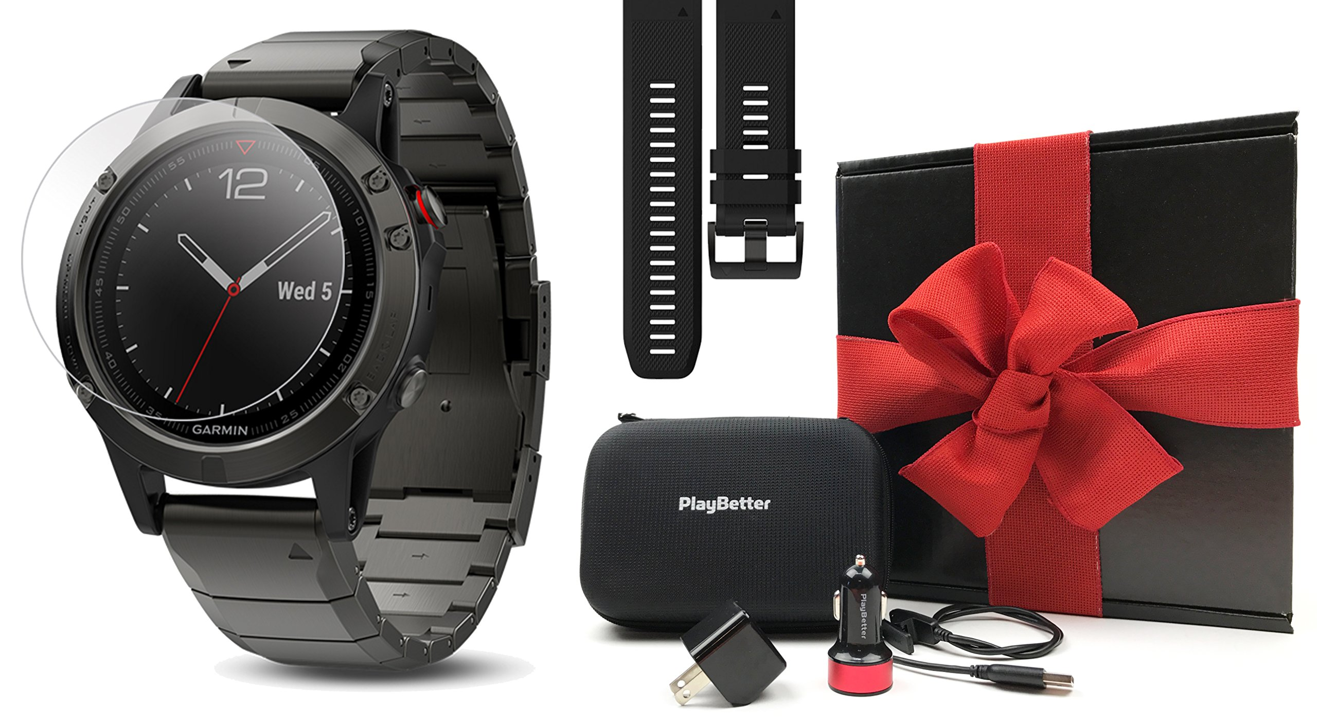 Garmin fenix 5 Sapphire (Slate Gray with Metal Band) GIFT BOX | Bundle includes Extra Silicone Band (Black), Screen Protector, PlayBetter USB Car/Wall Adapter, Protective Case | Multi-Sport GPS Watch