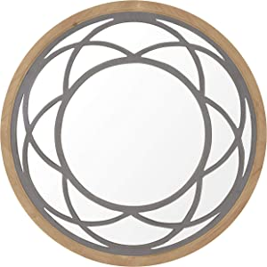 Rustic Round Decorative Wall Mirror 30 Inch with Wood Frame for Living Room Bathroom Kitchen Wall Decor