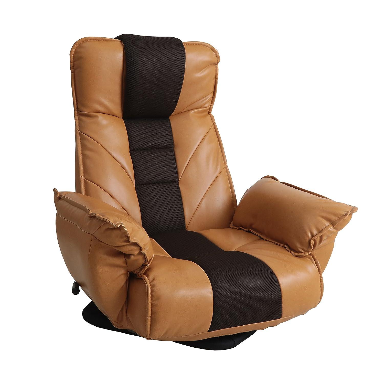 ロングセラー座椅子 明光ホームテック 回転座椅子 TVが見やすい レバー式 14段階リクライニング ライトブラウン FRL-ダラスLBR B0778FVJVJ