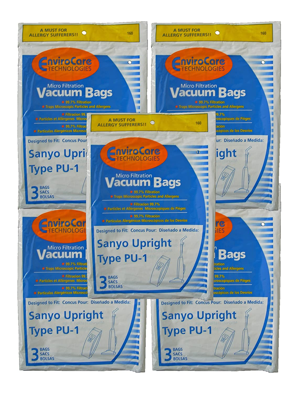 Amazon.com: 15 Sanyo Upright Pu-1 Vacuum Bags, Panasonic ...