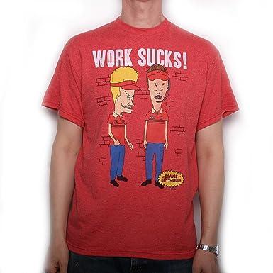 403f04e23 Beavis & Butthead T Shirt - Work Sucks 100% Official Import: Amazon ...