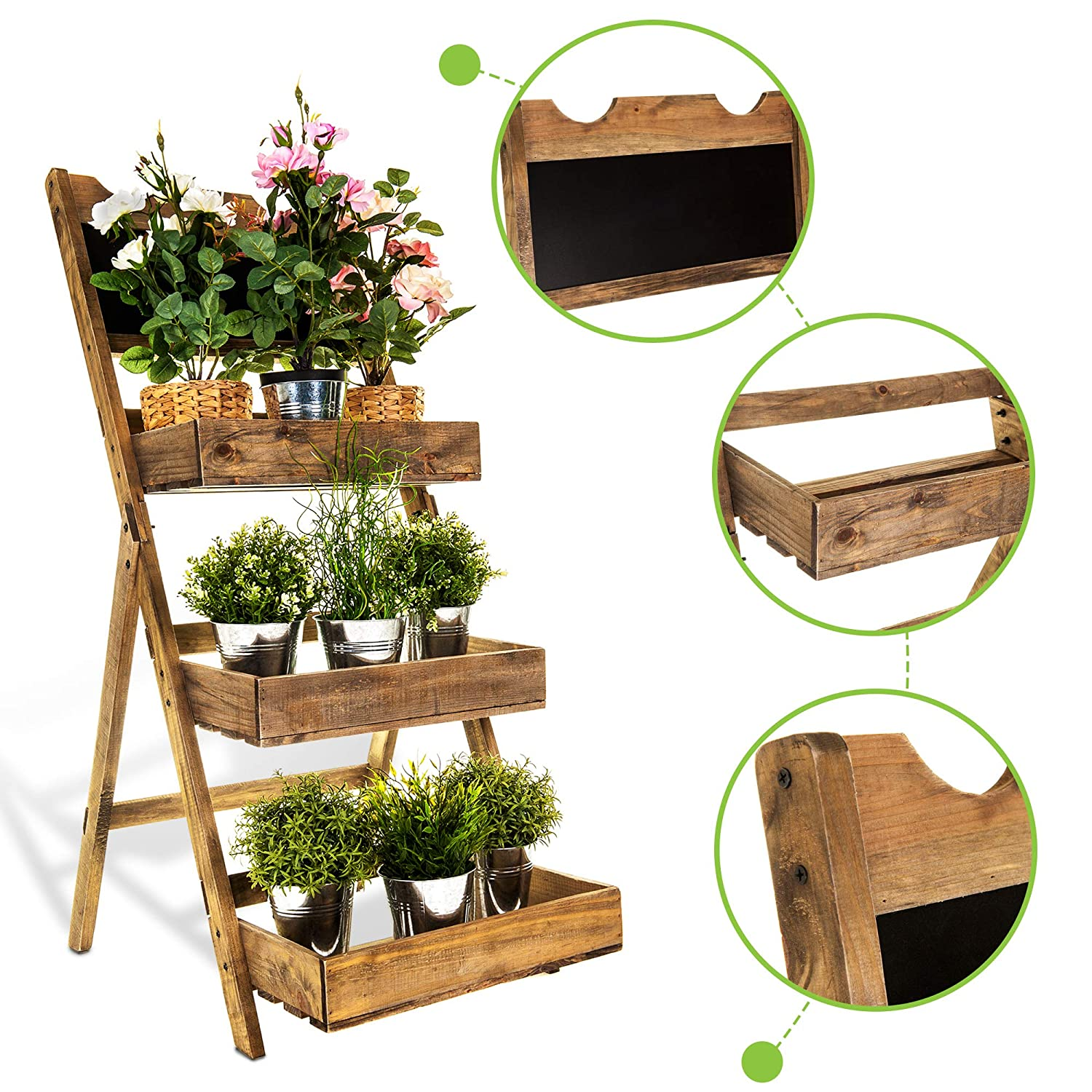 4 TIER WOODEN PLANT DISPLAY STAND//PLANT THEATRE