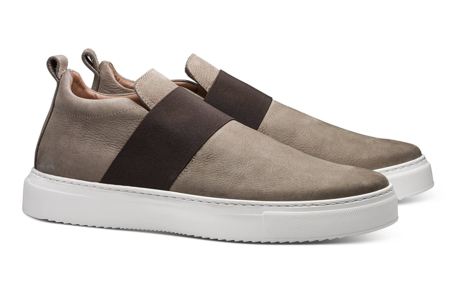 Grey MORAL CODE The Edan  Premium Hand Crafted Men's Leather Pull-On Mid-Top Sneaker