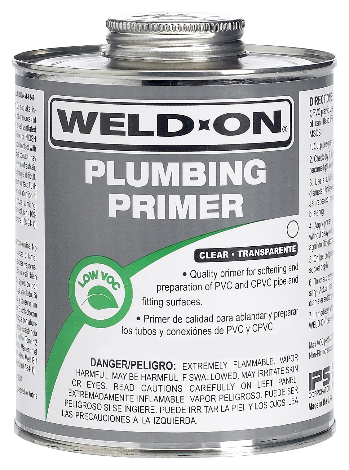 Weld-On 14030 Clear Professional Plumbing Grade PVC/CPVC Primer, Low-VOC, 1 quart Can with Applicator Cap