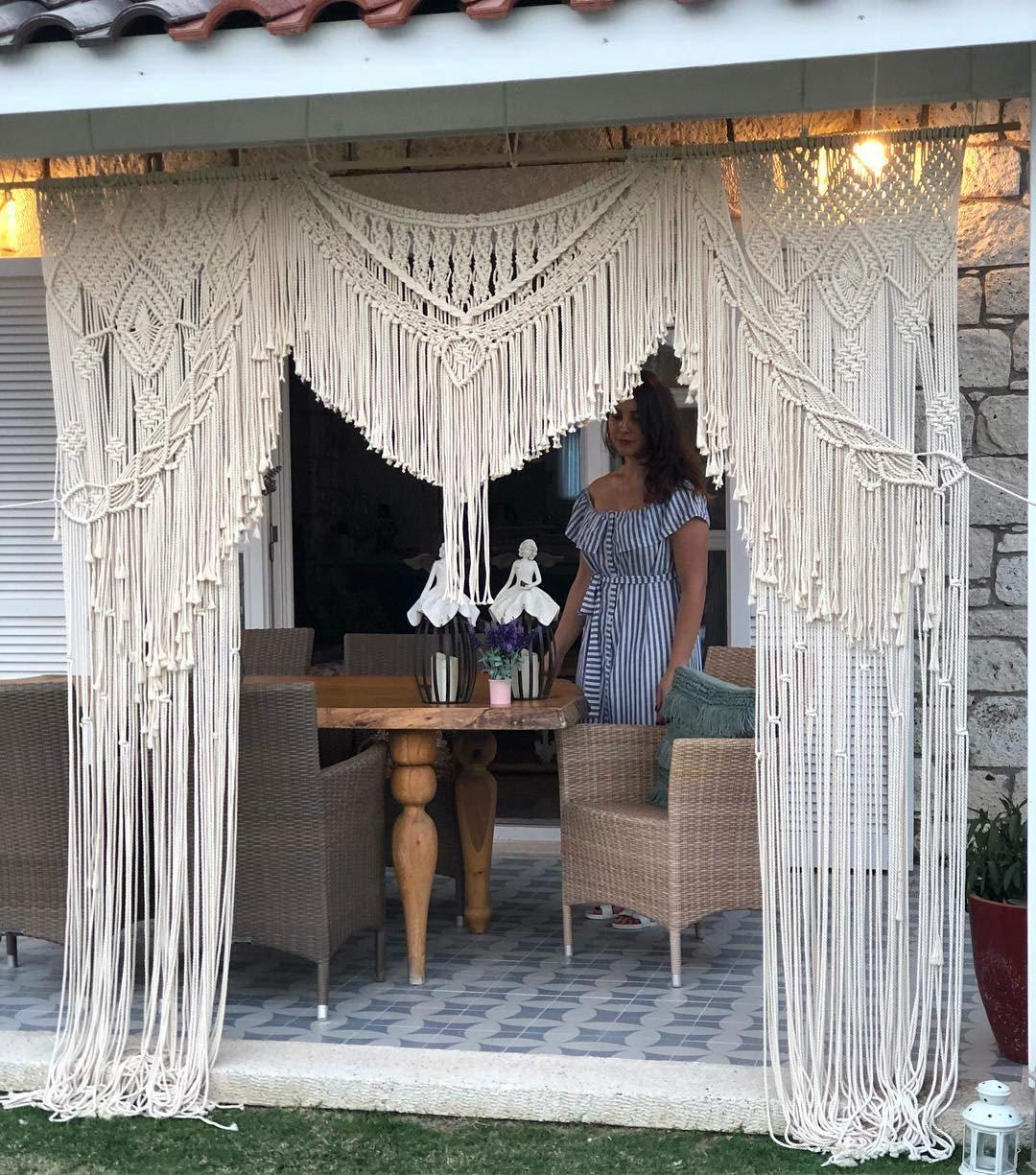 "Macrame Wall Decor Hanging - Bohemian Home Geometric Art Decor - Beautiful Apartment Dorm Room Decoration-Macrame Curtain-Macrame Wedding Backdrop for Christmas & Holiday Decorations W 80"" x L 88""Inch"