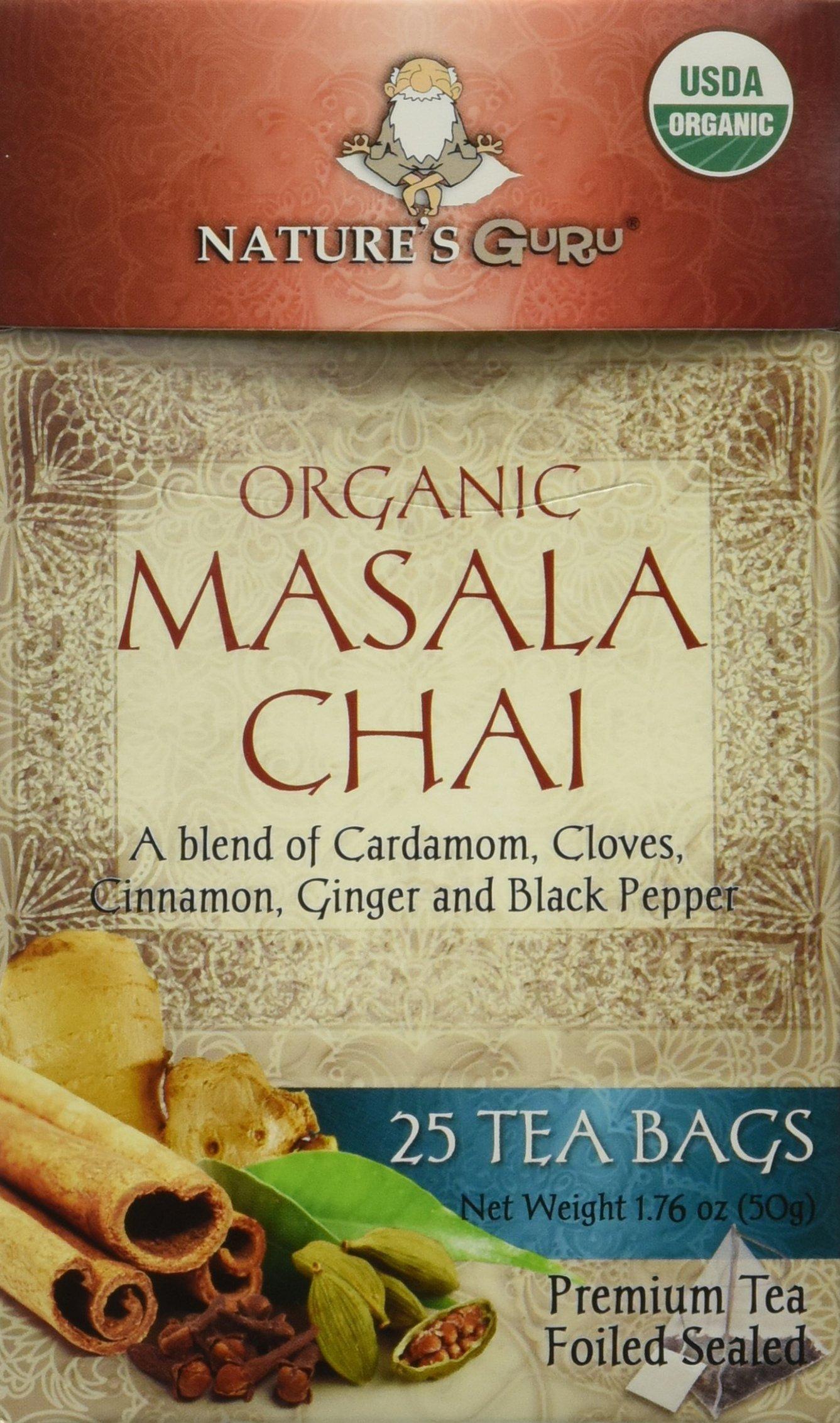 Nature's Guru Organic Whole Leaf Black Tea, Masala Chai, 25 Count Individual Tea Bags (Pack of 12)