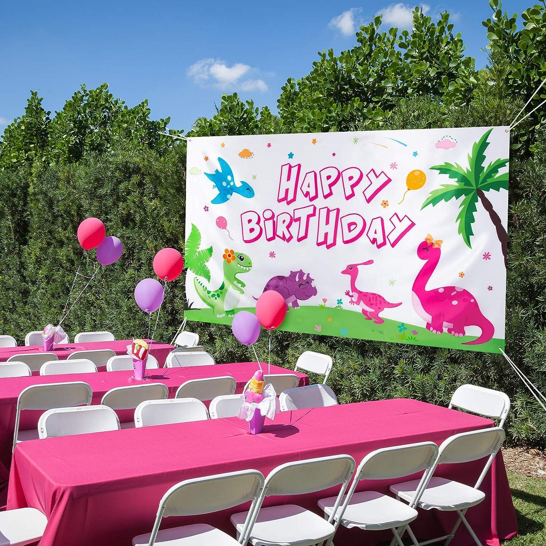 Dinosaurier Thema Geburtstagsparty Dekorationen f/ür M/ädchen Gro/ßer Fotohintergrund Dino-Party-Zubeh/ör Wand Banner Raumdekoration WERNNSAI Dinosaurier Geburtstags Hintergrund 185 x 110cm
