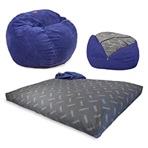CordaRoy's Chenille Bean Bag Chair, Convertible Chair Folds from Bean Bag to Bed, As Seen on Shark Tank - Navy, Full Size