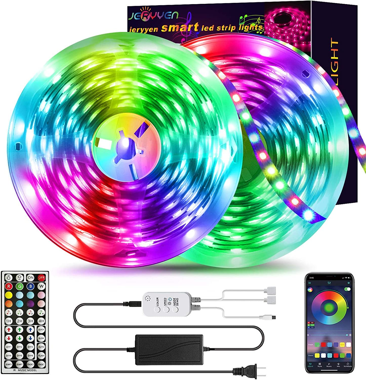 LED Strip Lights 50ft RGB LED Strip Lights SMD 5050 LED Lights,Music sync Color Changing Strip Lights with 44 Keys Remote+Bluetooth Controller Led Lights Strip for Home TV Party Decoration(2x25ft)