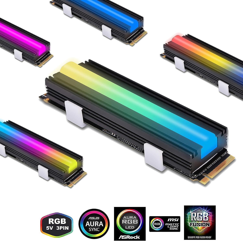 EZDIY-FAB 5V ARGB SATA NVMe NGFF M.2 Refrigerador SSD para 2280 M ...