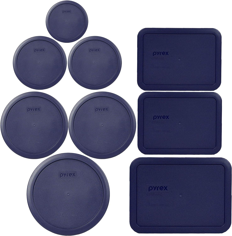 Pyrex (1) 7402-PC 6/7 Cup Blue (2) 7201-PC 4 Cup Blue (2) 7200-PC 2 Cup Blue (1) 7202-PC 1 Cup Blue (2) 7210-PC 3 Cup Blue (1) 7211-PC 6 Cup Blue Food Storage Lids, 9 Lids Total
