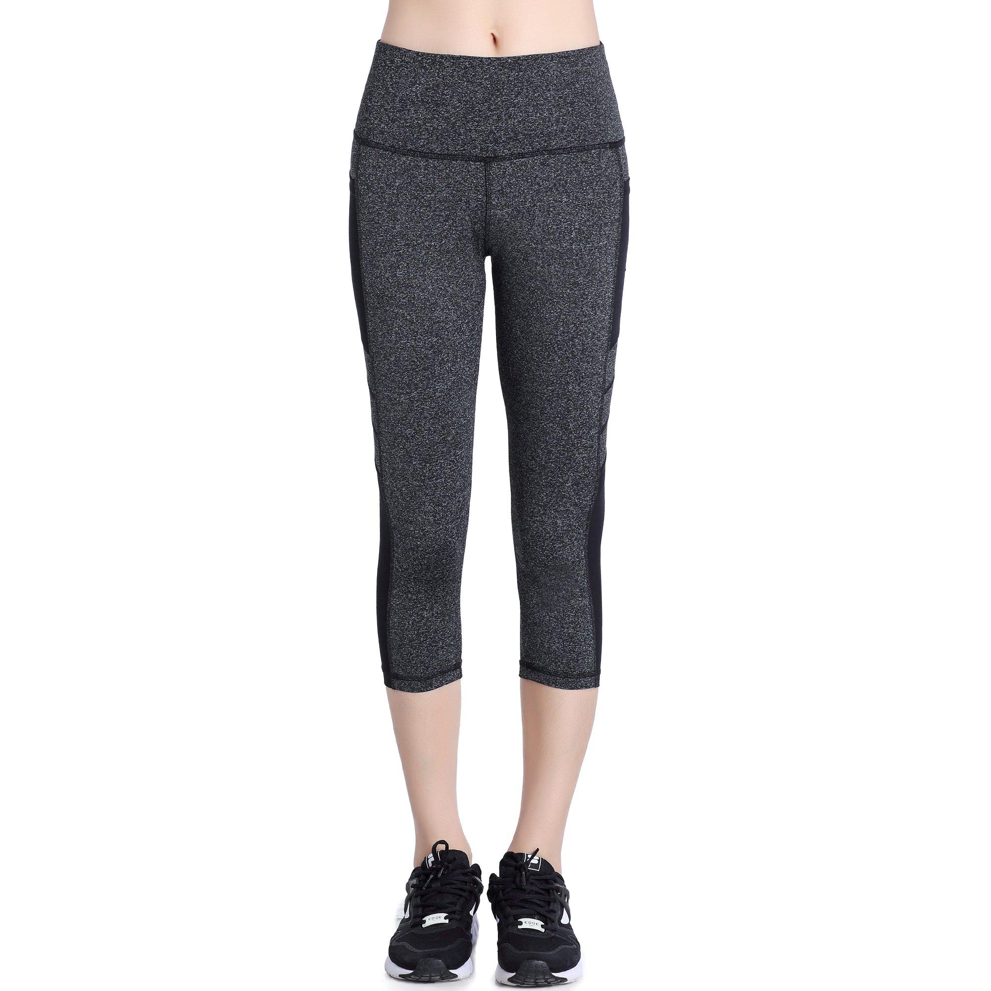 Picotee Women's Yoga Capri Pants Workout Running Pants Leggings High Waist with Pocket (L, Grey)