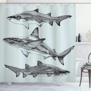 "Ambesonne Animal Shower Curtain, Sealife Big Dangerous Fish Shark Jaws Tails Sketchy Monochrome, Cloth Fabric Bathroom Decor Set with Hooks, 70"" Long, Charcoal Grey"