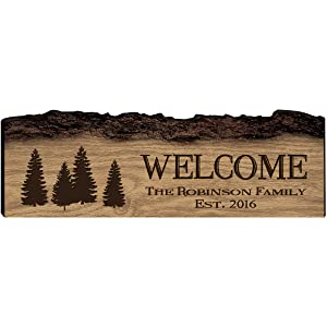 Personalized Welcome Home Custom Sign Engraved with Family Names with Established Date by LifeSong Milestones (Welcome)