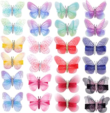 24 Pack Leather Hair Bow Butterfly Alligator Hair Clips Barrettes Accessories