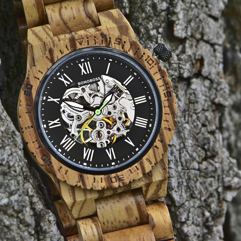 Bonoboss Kronos - Reloj Automático de Madera para Hombre, Cristal de Zafiro (New Zebrano): Amazon.es: Relojes