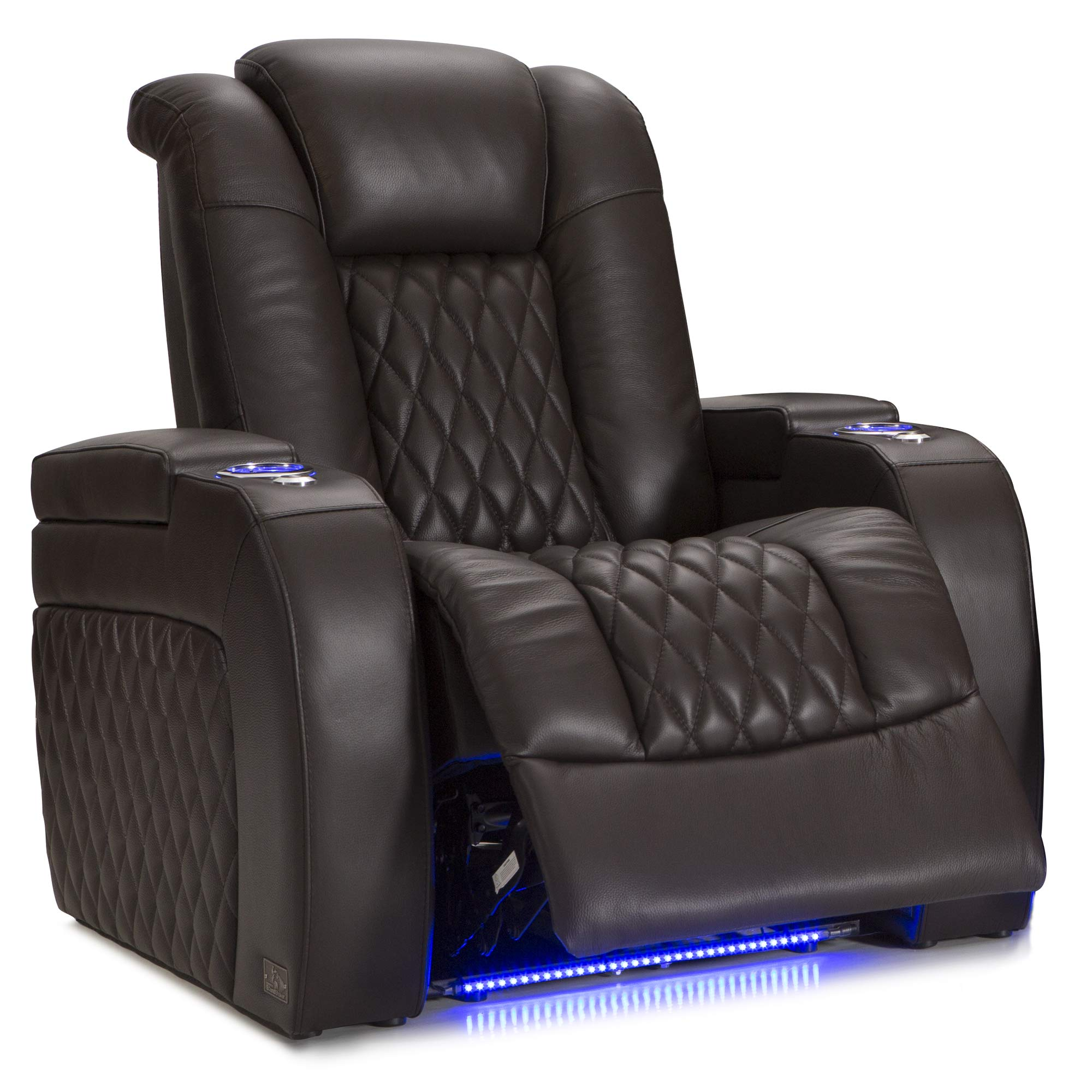 Seatcraft Diamante - Home Theater Seating - Power Recliner - Leather - Adjustable Powered Headrests - Cup Holders - USB Charging - SoundShaker - Ambient Lighting - Wall Hugger - Brown by Seatcraft