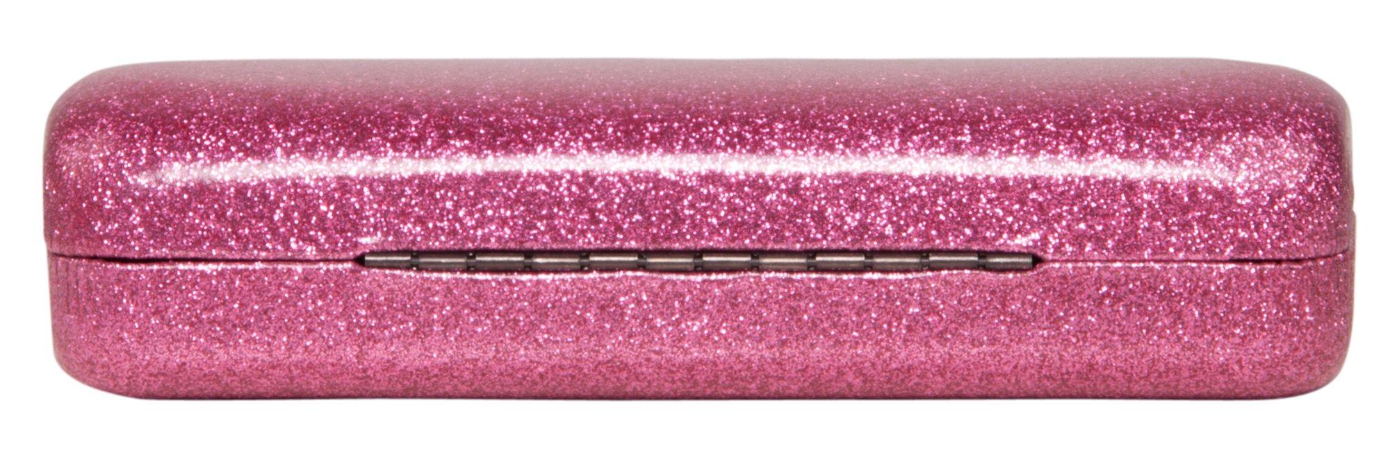 Poetic Pink Medium Premium Fashion Women's Hard Eyeglasses Case By Spunky Soul   Glitter Light Pink   Bonus Cleaning Cloth by SPUNKYsoul (Image #3)