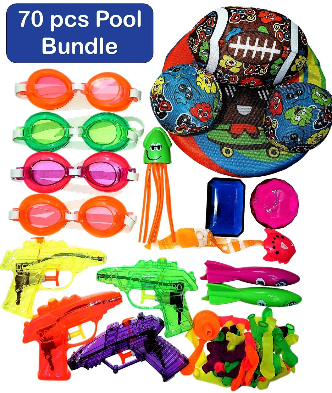 JA-RU Pool Toys 70 Pcs Bundle Kids Swimming Water Pool Party Goggles Splashers Balloons Filter & Collectable Bouncy Ball Items # 179-877-6434-858-4x1170 by JA-RU
