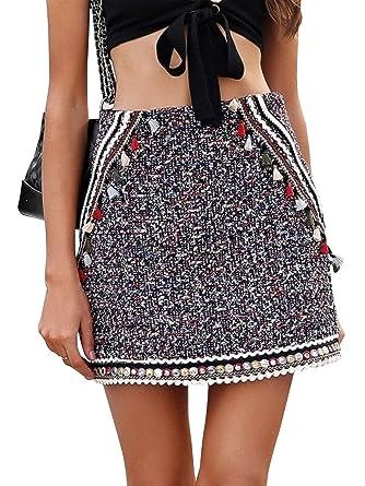 08981c11197668 Terryfy Damen Sommer A Linien Minirock Elegant Patchwork High Waist Skirt  Streetwear Bunt: Amazon.co.uk: Clothing
