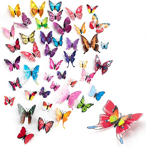 Decors for Wedding Party Home Kitchen Decoration 3d Wall Butterflies! PVC 3D Magnet Butterfly Stickers 12 pcs  Monarch Butterfly Wall Art