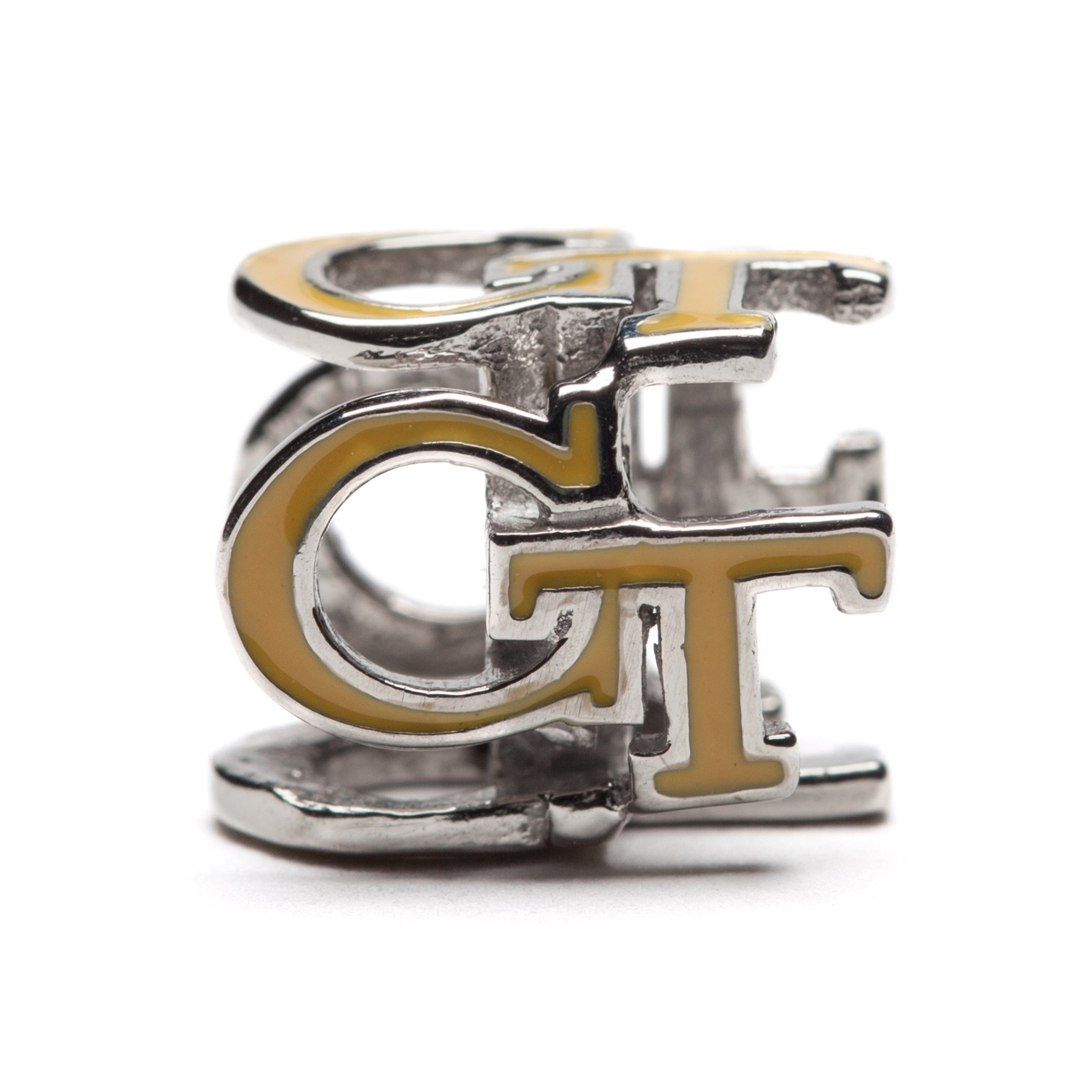 Georgia Tech Charm | GT Yellow Jackets - Gold Colored Block GT 4-Sided Charm | Officially Licensed Georgia Tech Jewelry | Georgia Tech Ramblin Wreck | GT Jewelry | GT Charms | Stainless Steel by Stone Armory