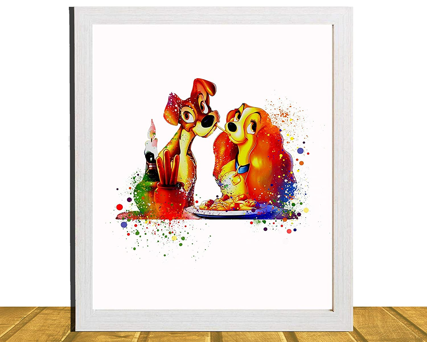 Lady and the Tramp Type 3 Wall Art Disney Watercolor Poster Nursery UNFRAMED